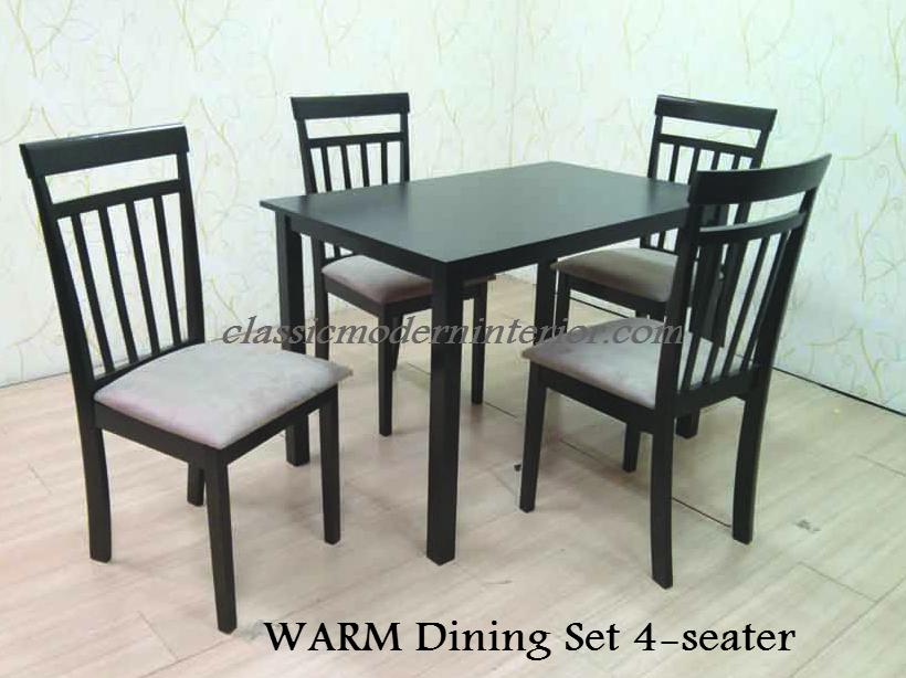 warm dining set 4 seater classicmodern
